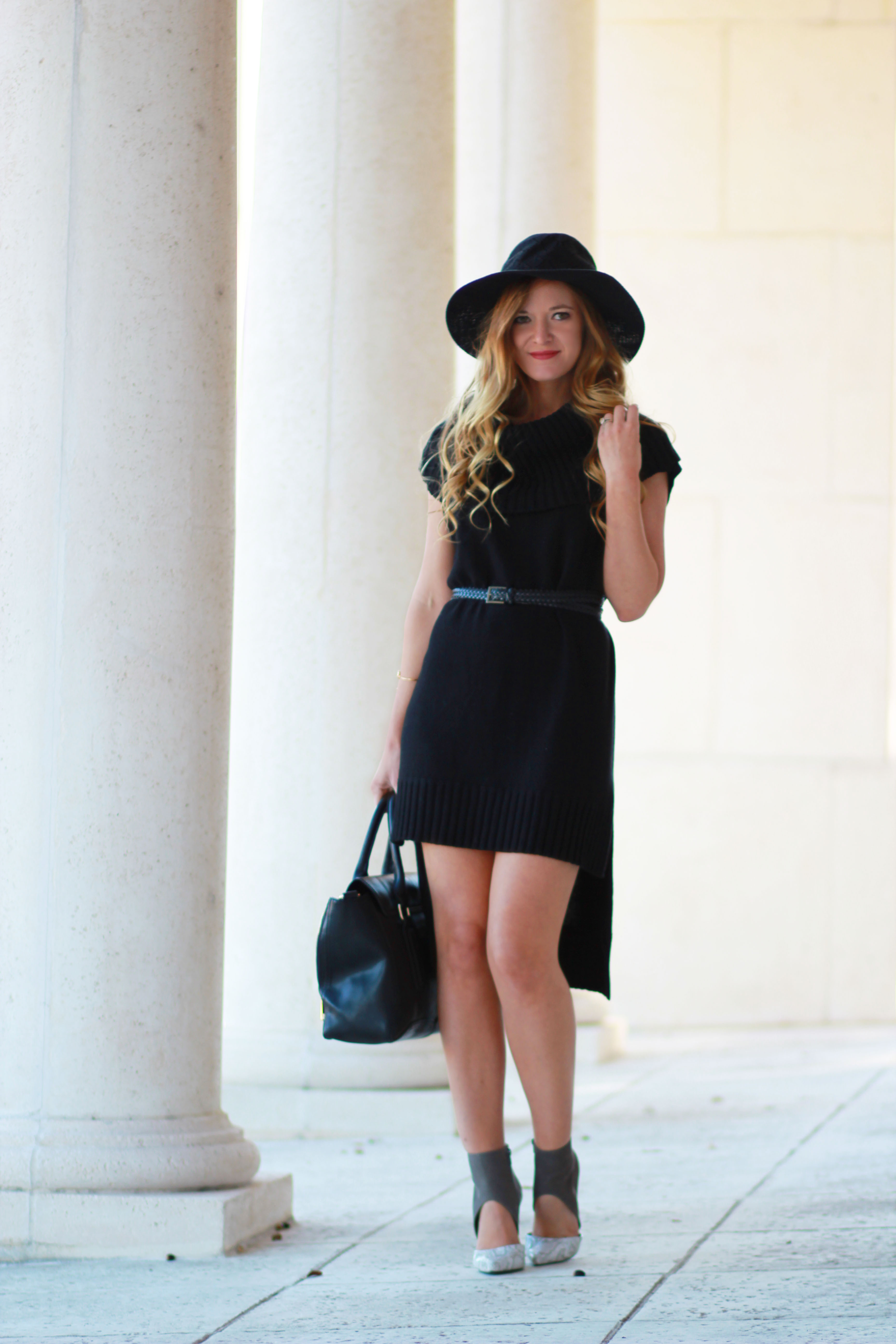 orlando, florida fashion blogger styles bcbgeneration sweater dress with steve madden snakeskin heels and free people hat for a winter outfit