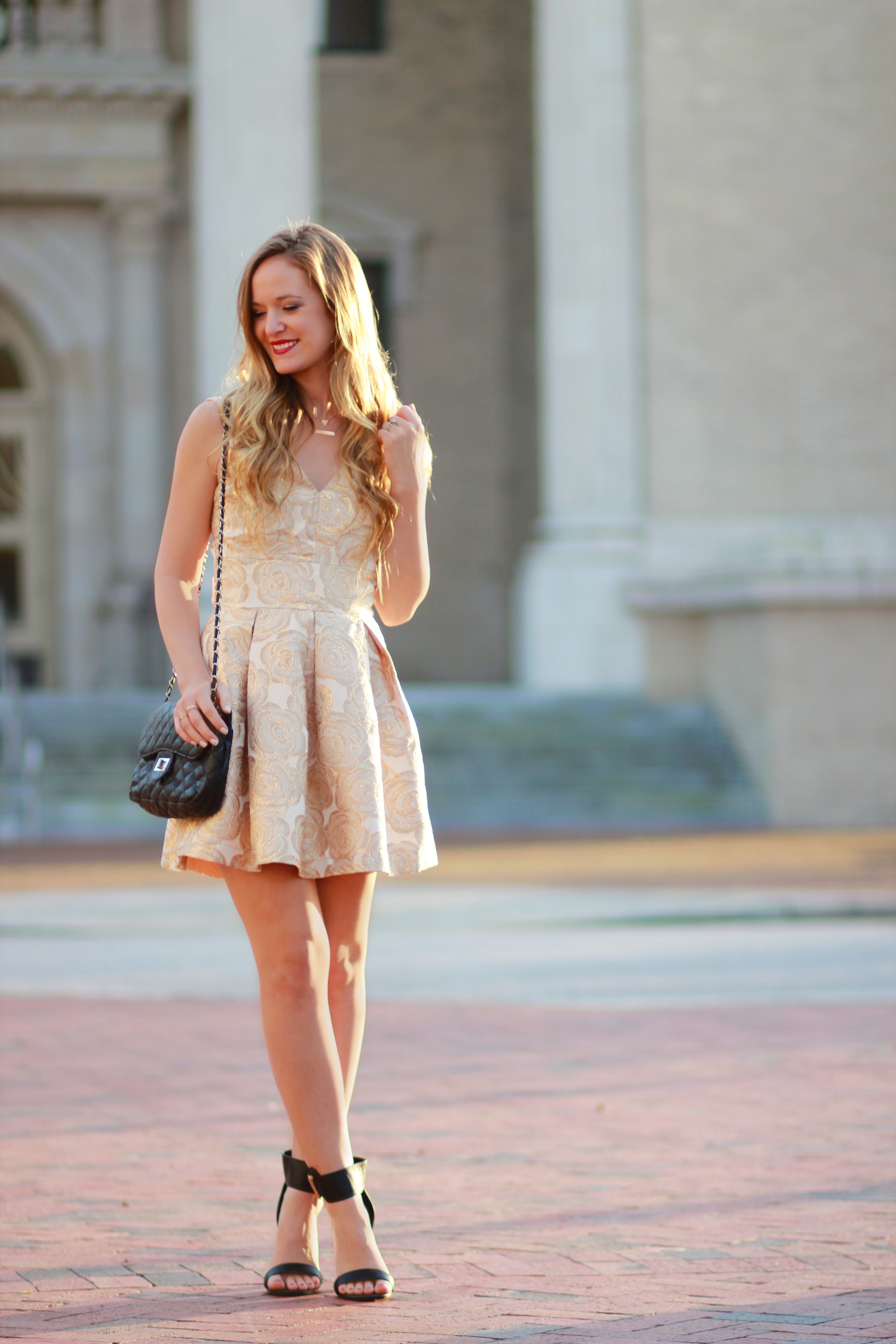 orlando, florida fashion blogger styles trunk up gold floral dress and sugarpair heels for new years outfit inspiration