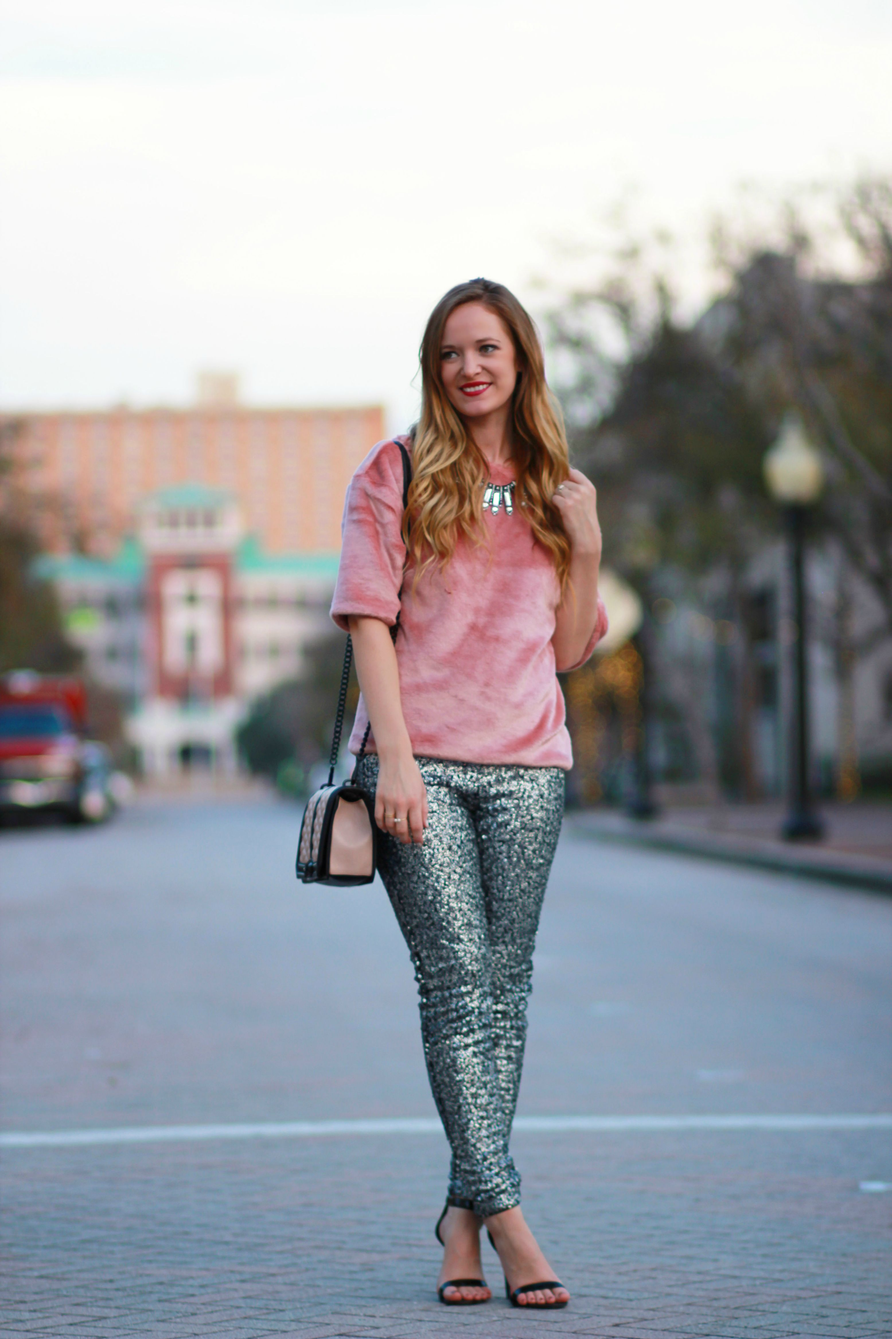 orlando, fl style blogger styles h&m fur top with h&m sequin pants for new years eve outfit inspiration