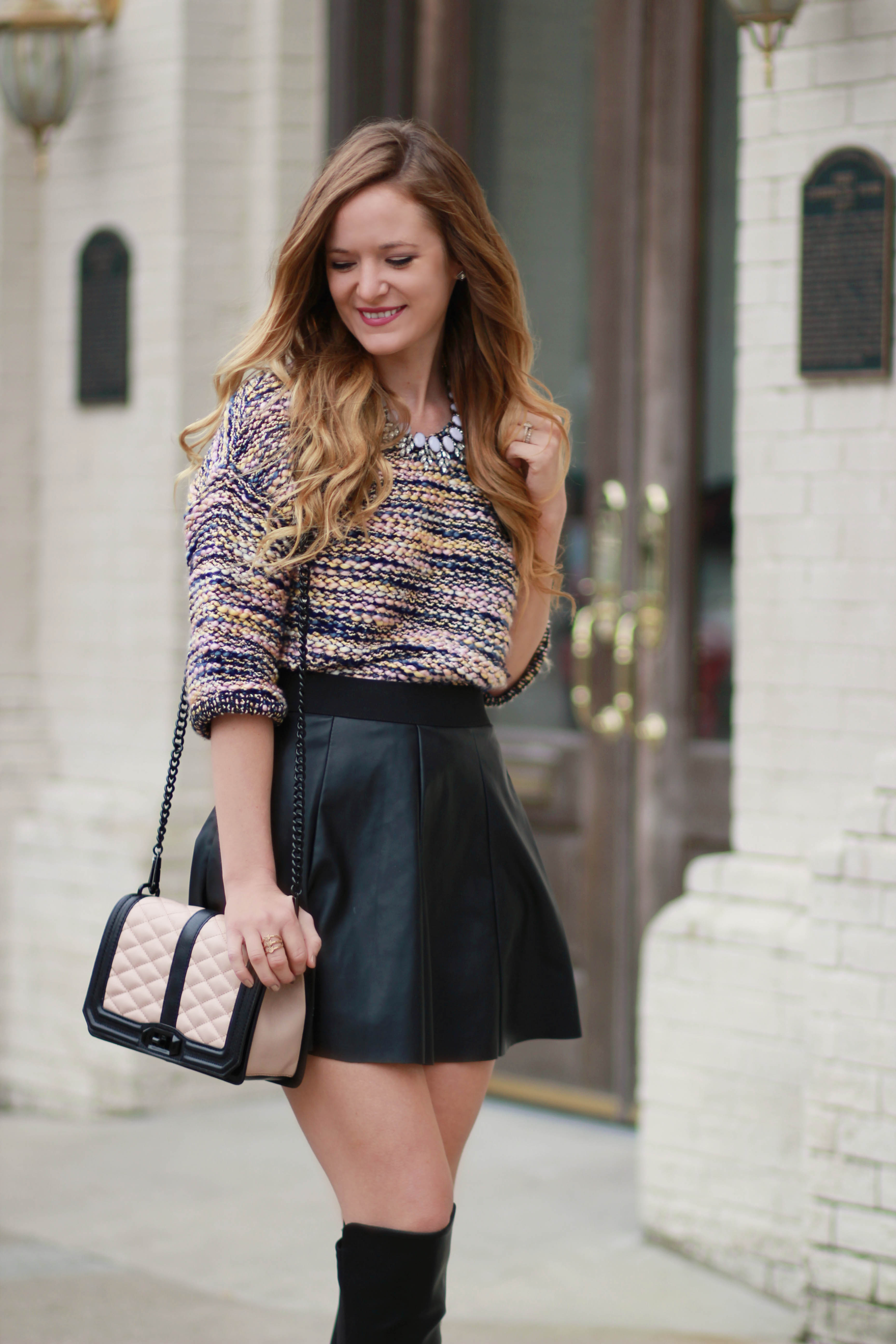 orlando, florida fashion blogger styles h&m sweater with forever 21 keather skater skirt, dsw over the knee boots and rebbeca minkhoff crossbody for a casual fall outfit