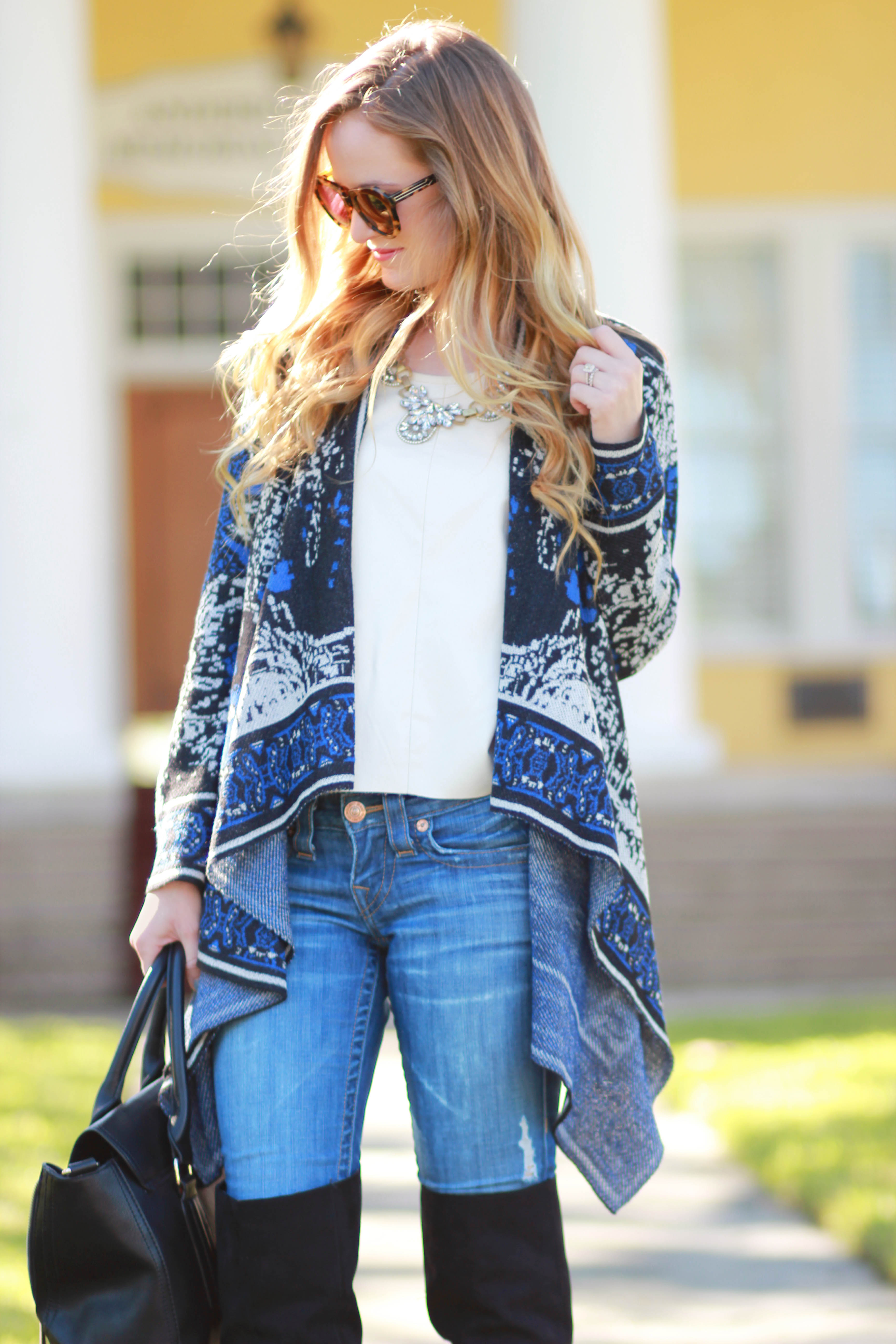 florida, orlando fashion blogger styles sugar love boutique cardigan, target over the knee boots and karen walker number one sunglasses for a casual fall outfit