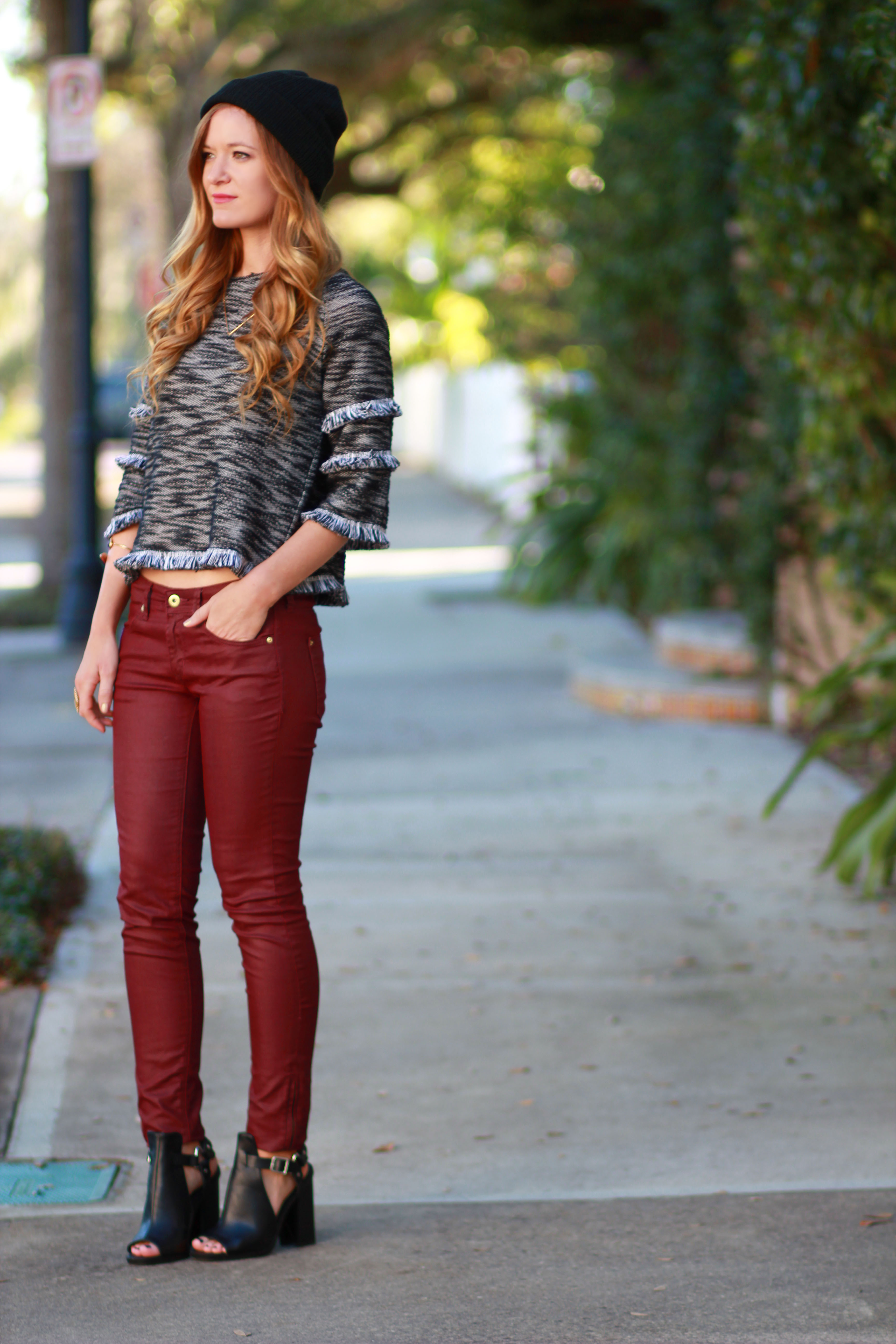 orlando, florida fashion blogger styles cropped sweater, h&m coated denim, windsor boots for a casual winter outfit