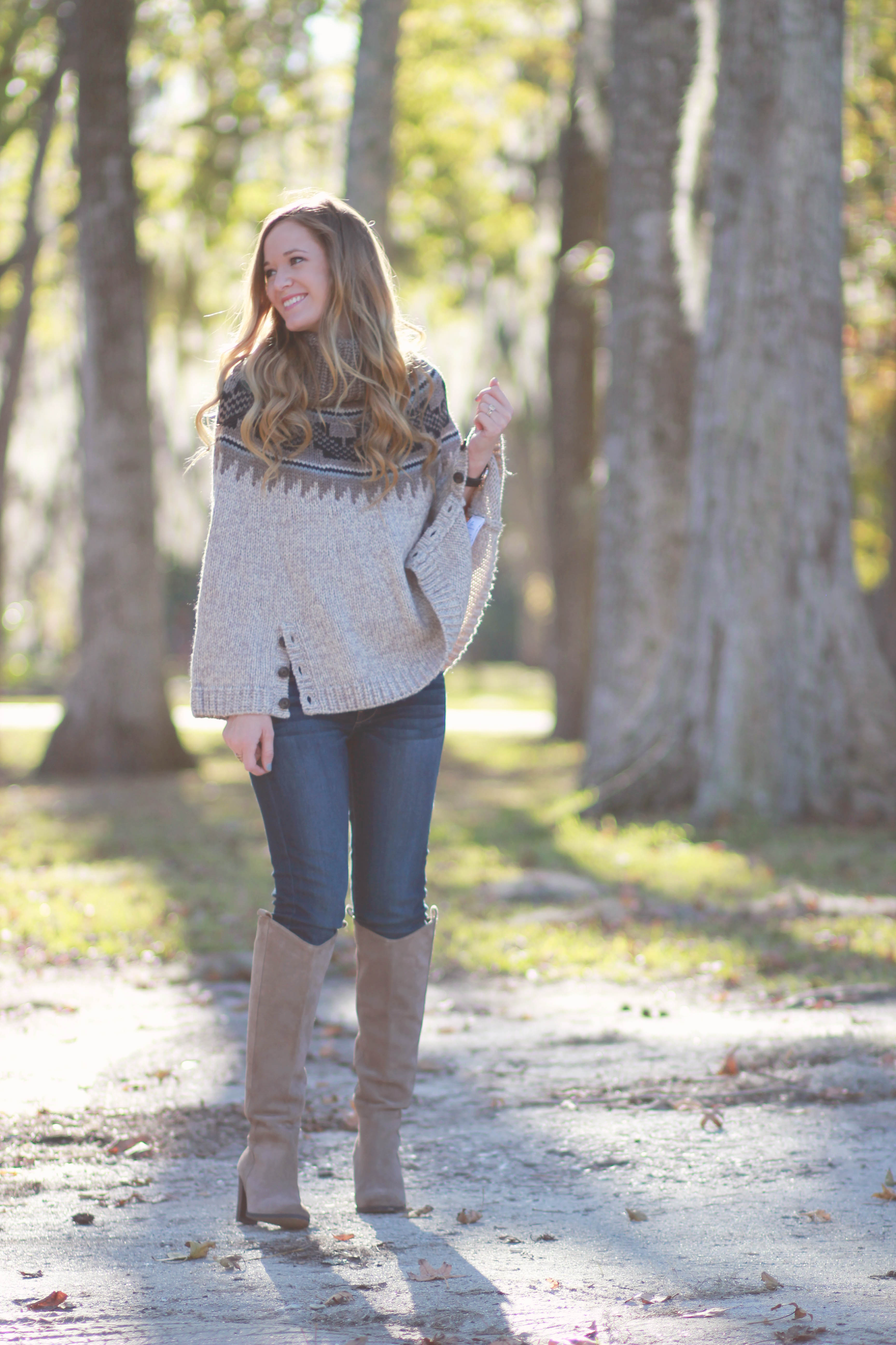 florida, orlando fashion blogger styles american eagle poncho, jeans, and dolce vita suede boots for a casual fall outfit, aeostyle challenge