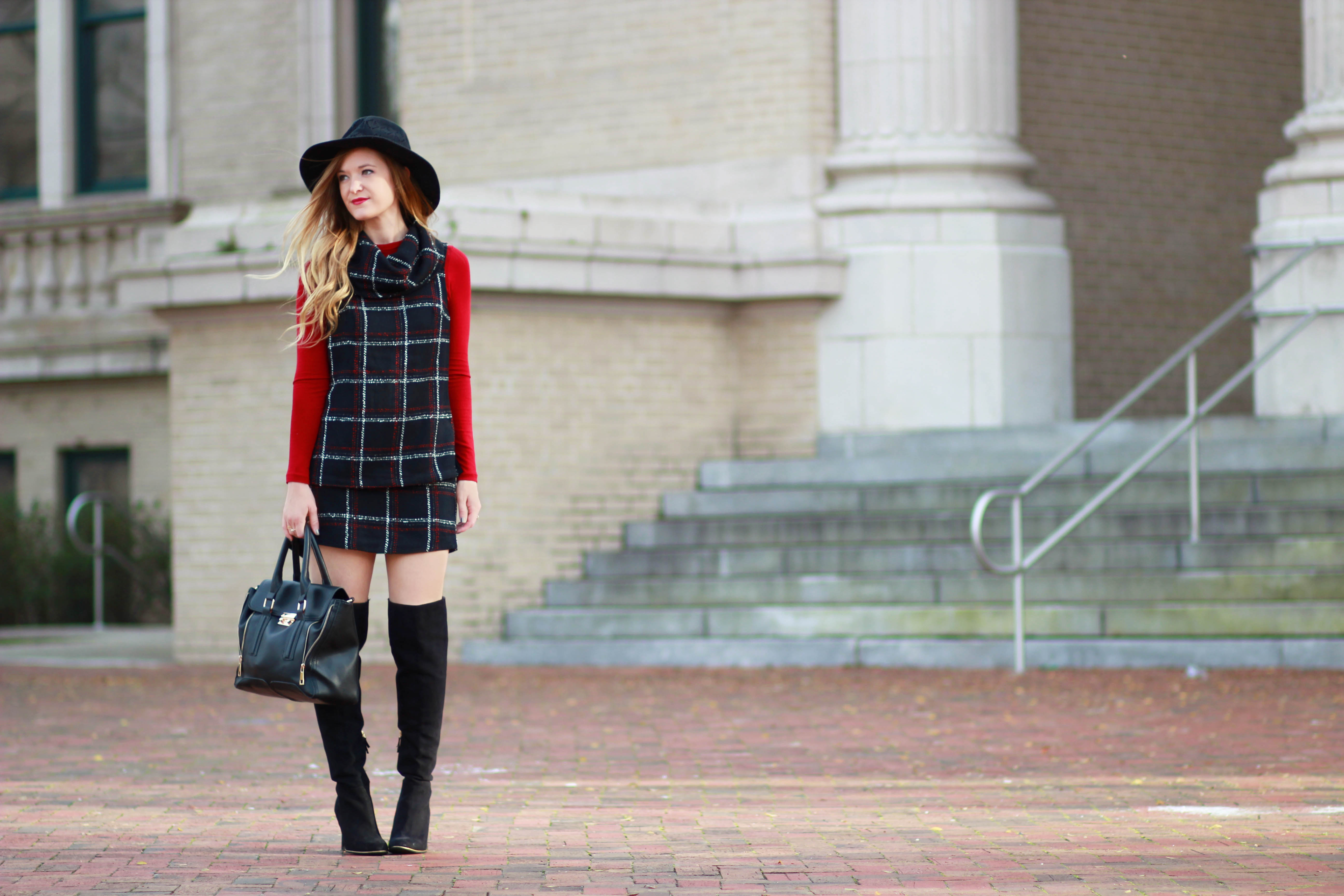 orlando, florida fashion blogger styles bcbg matching tweed separates with target over the knee boots and free people hat for a winter outfit