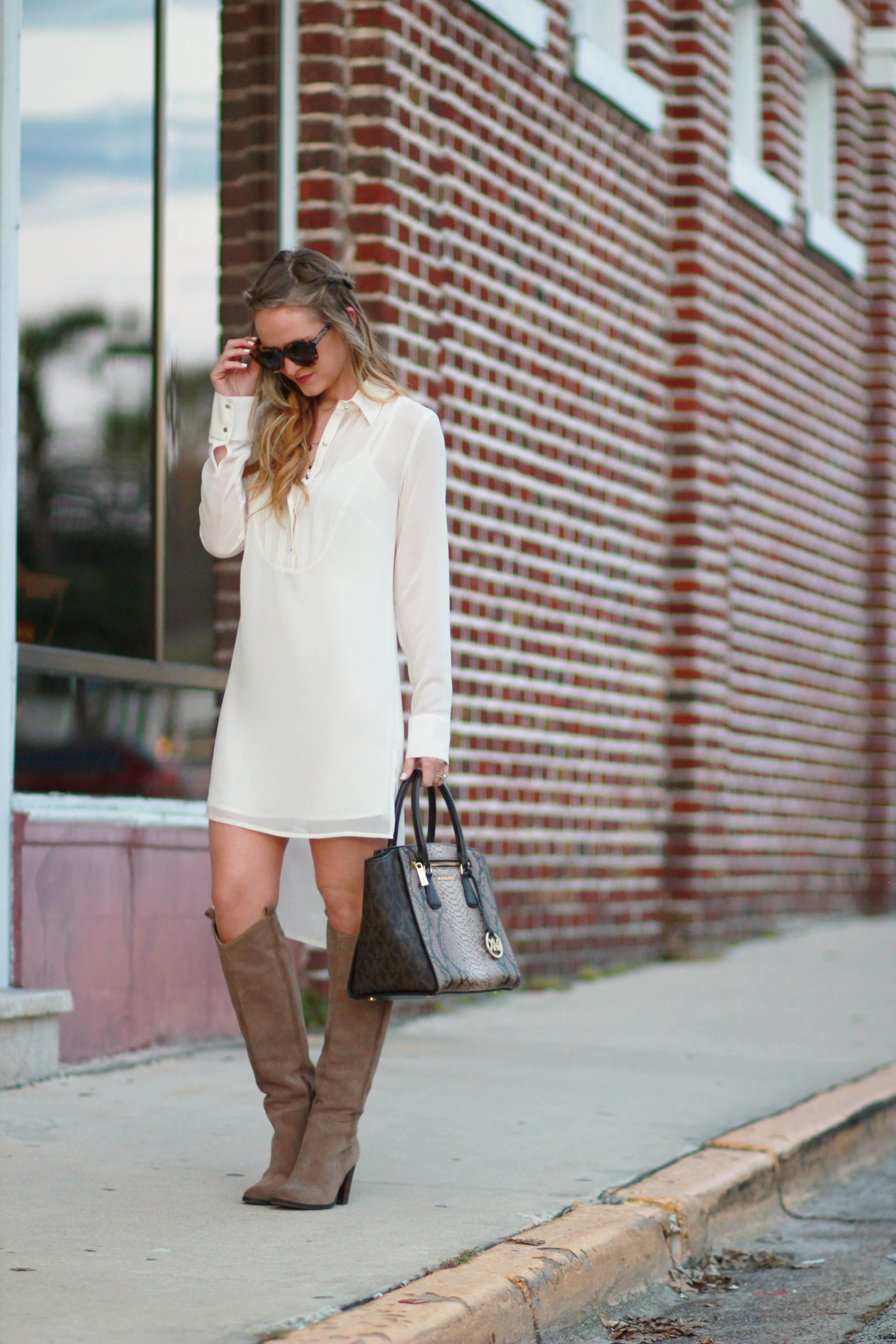 orlando, florida fashion blog styles bcbgeneration dress, dolce vita boots, karen walker sunglasses, and michael kors bag for a casual winter outfit