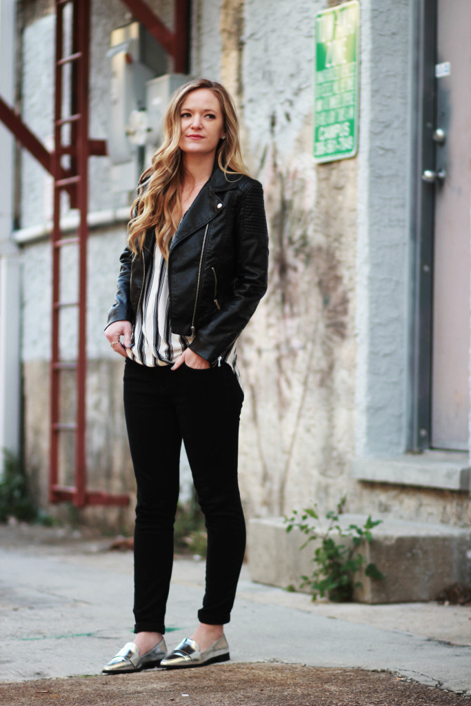 orlando florida fashion blog styles h&m leather jacket with metallic loafers for a casual winter outfit