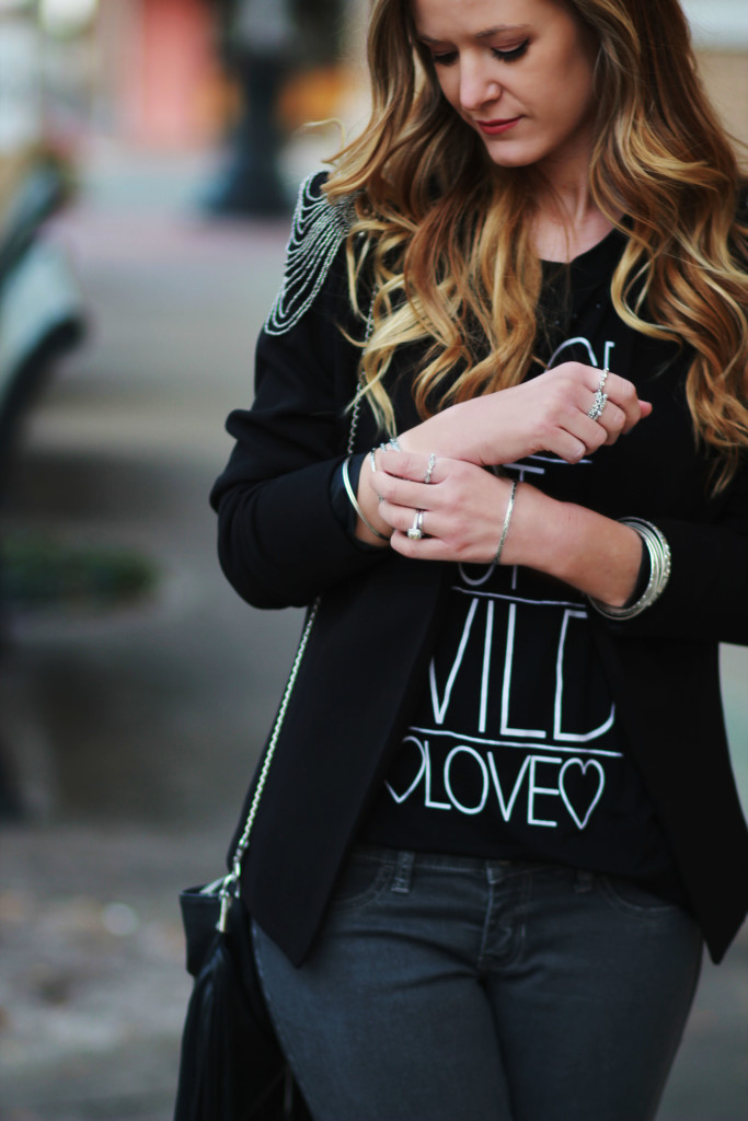 h&m blazer and hollister gray jeans
