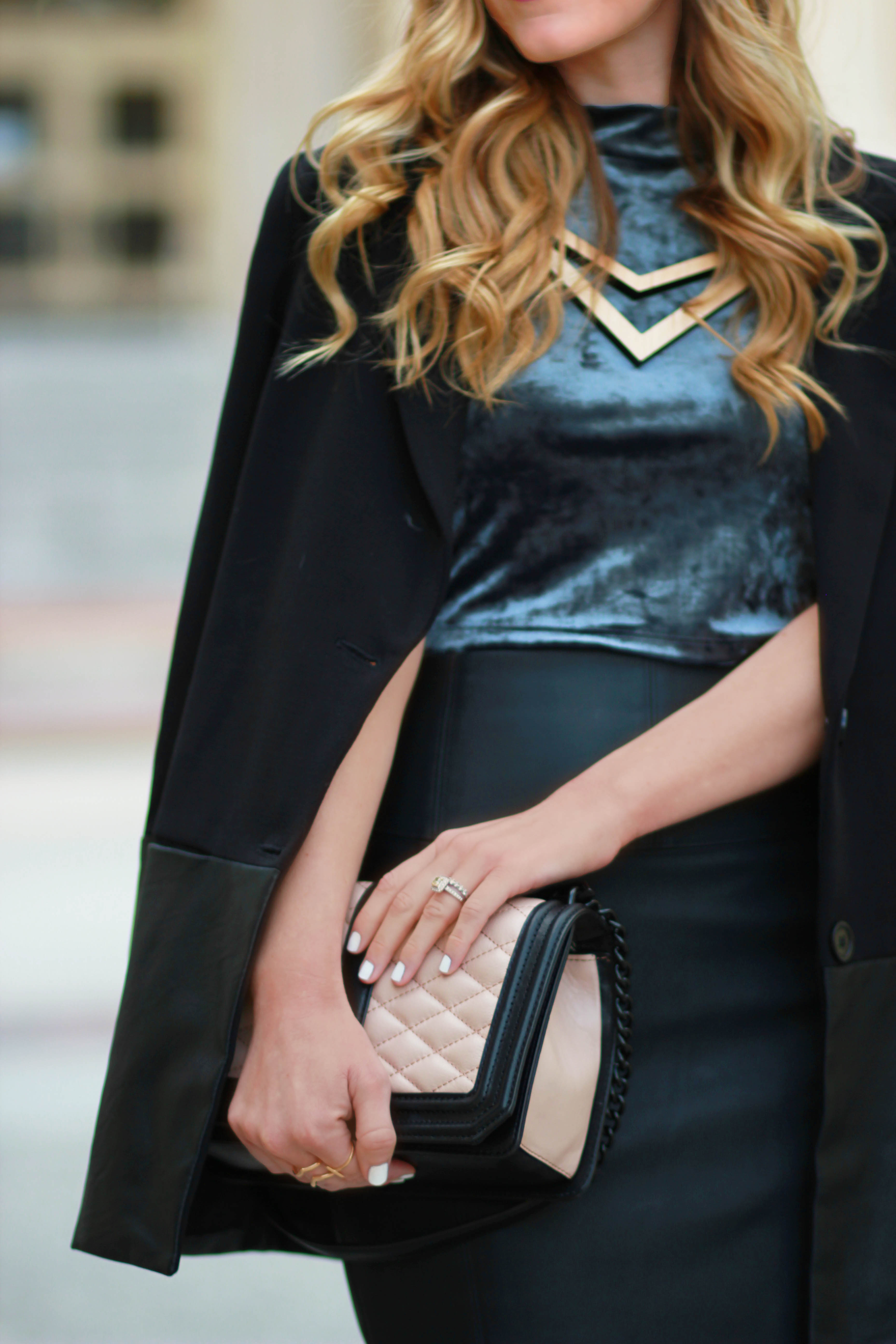 orlando, florida fashion blogger styles velvet forever 21 crop top and express leather pencil skirt with leather coat for a date night outfit.