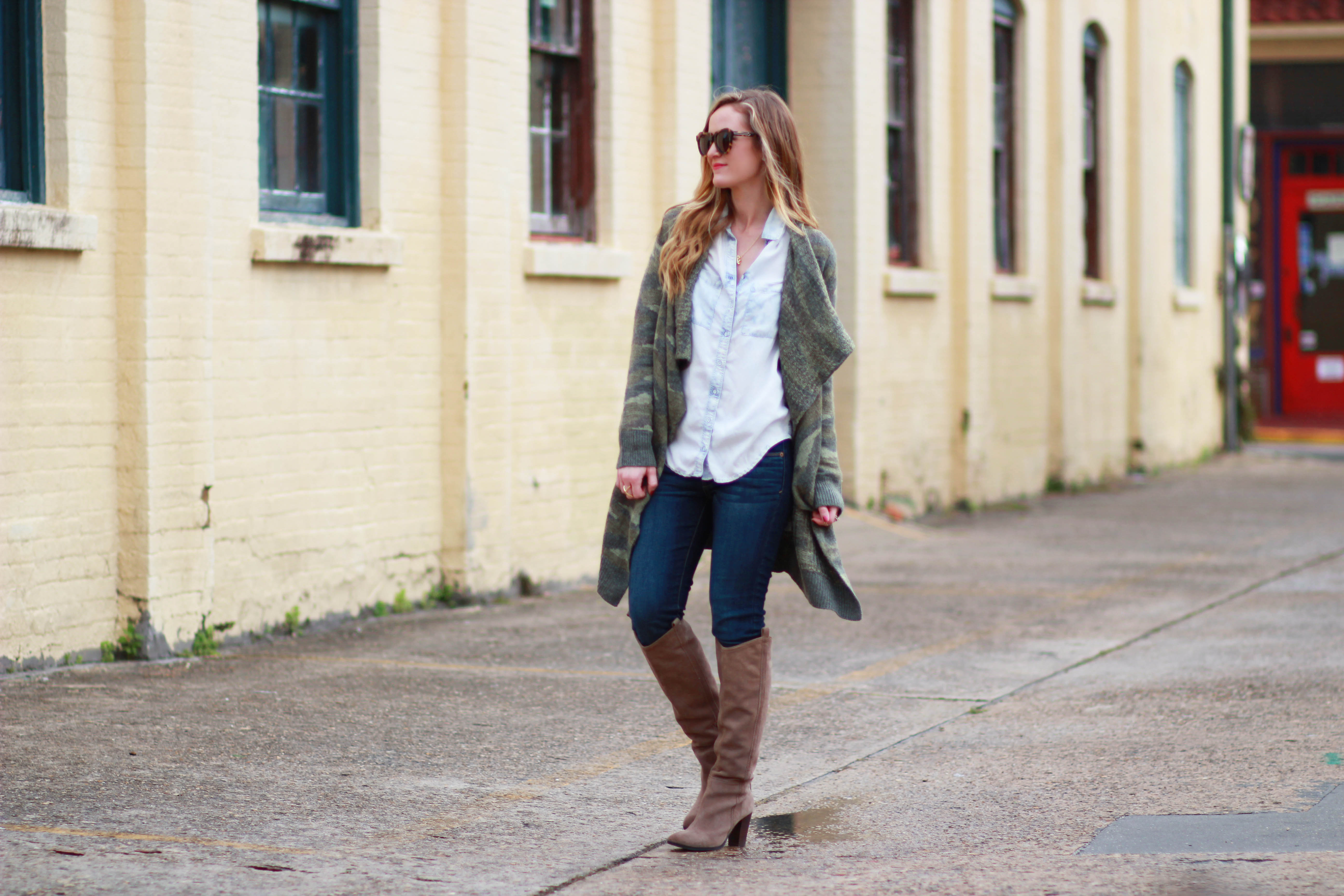 orlando, florida styles aeropostale camo sweat, chambray shit, dolce vita boots, and karen walker sunglasses for a casual winter outfit