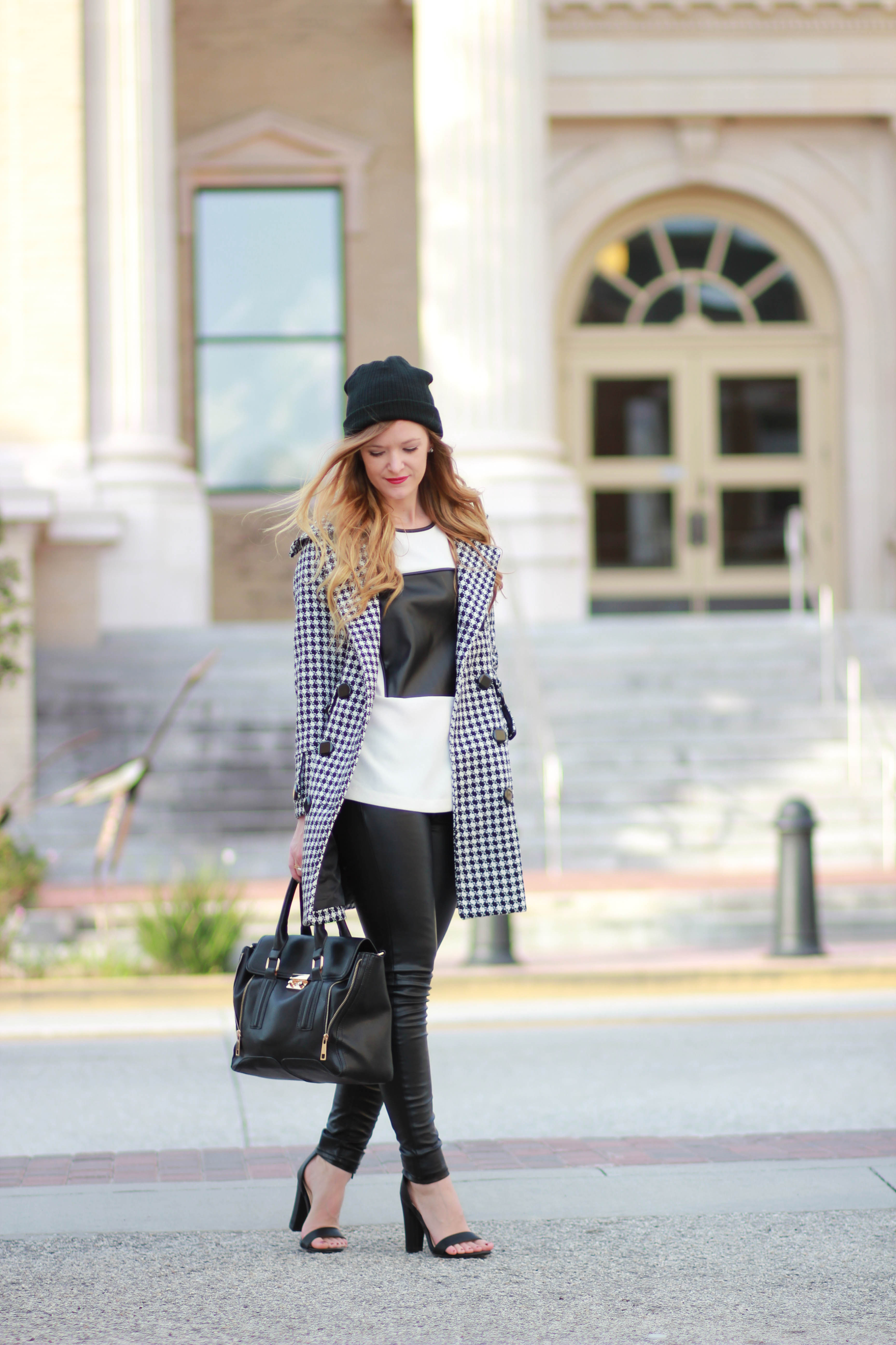 orlando, florida fashion blogger styles oasap houndstooth coat with h&m leather pants for a work inspired winter outfit