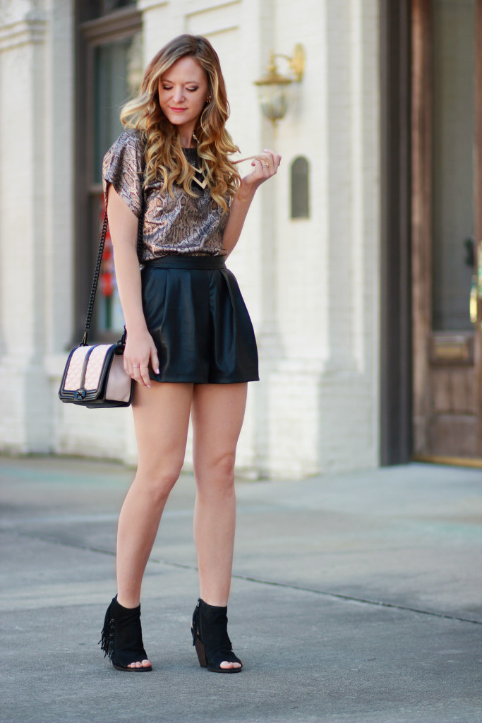 h&m leather shorts