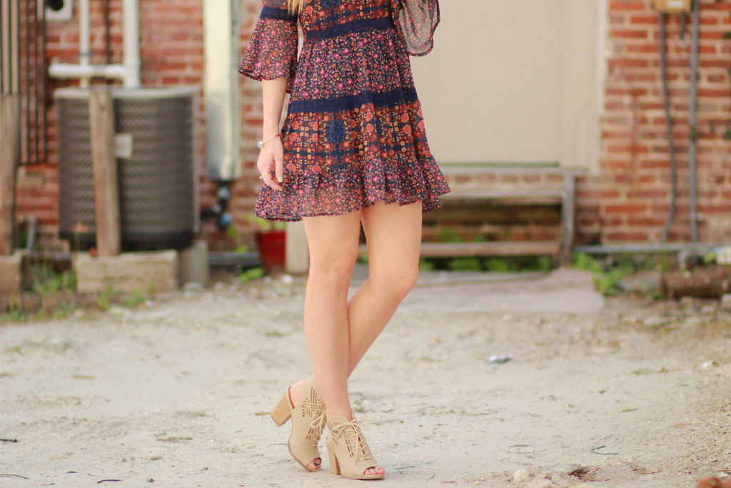 boho floral dress and lace up sandals