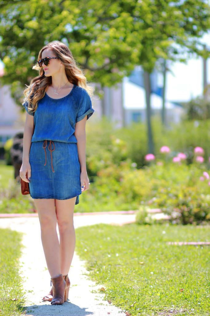 denim dress with karen walker sunglasses