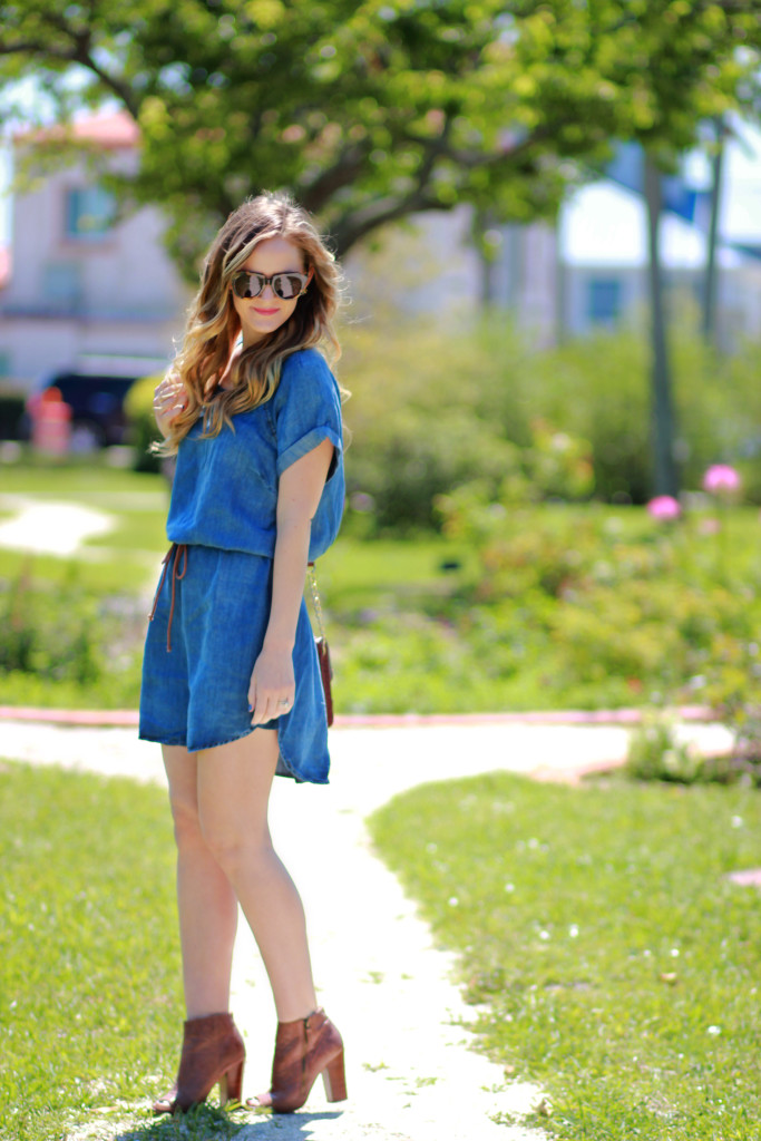 Chambray dress and peep toe booties