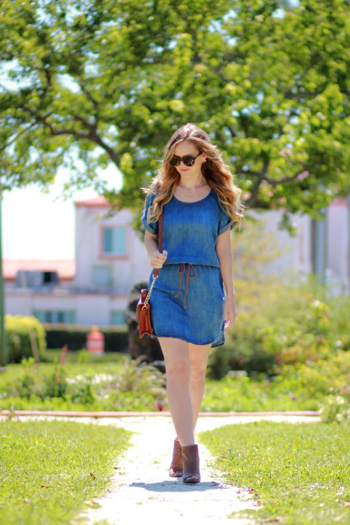 Chambray dress and karen walker sunglasses