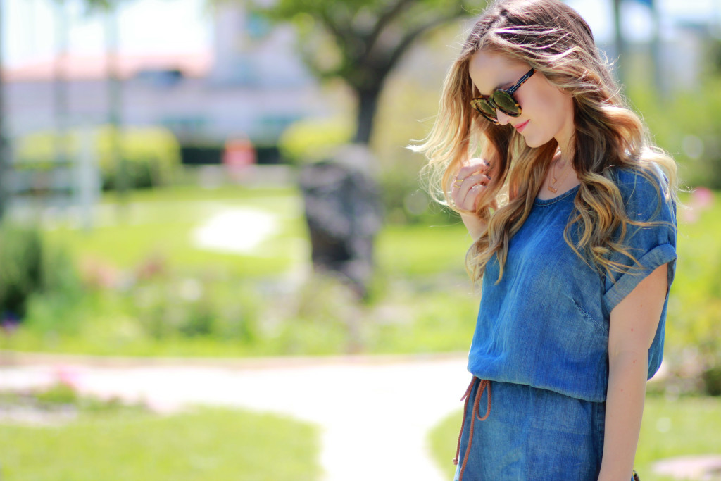 Denim dress and Karen Walker sunglasses