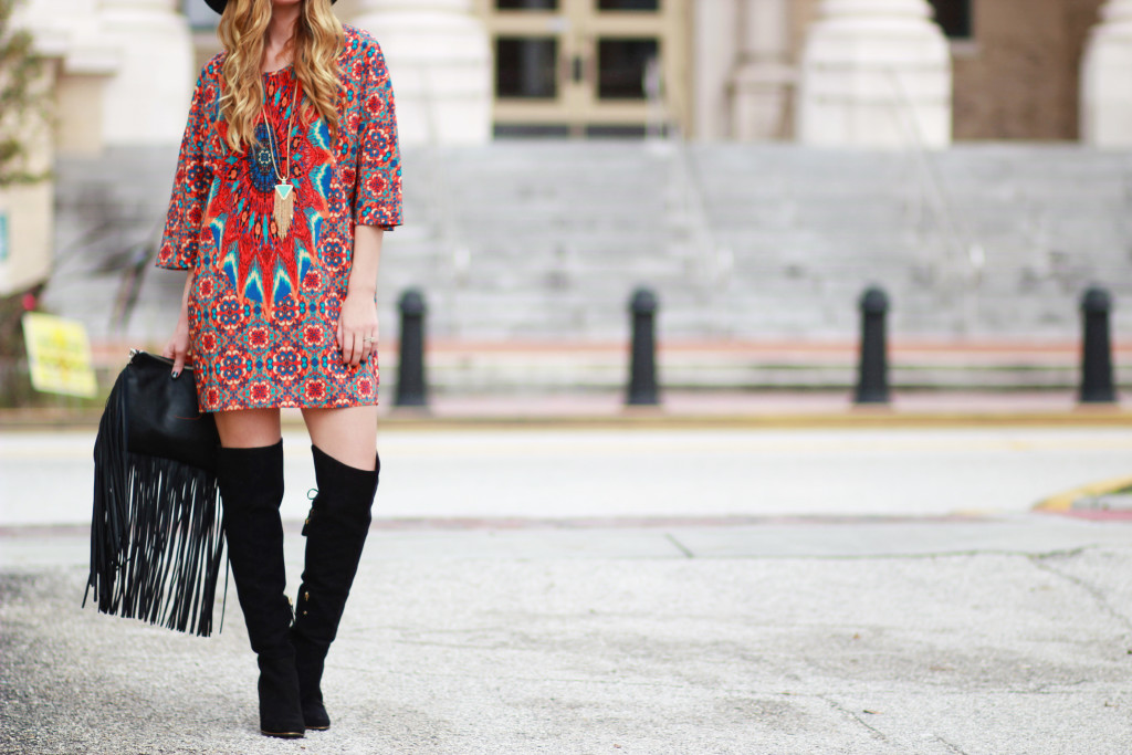 fringe clutch and over the knee boots