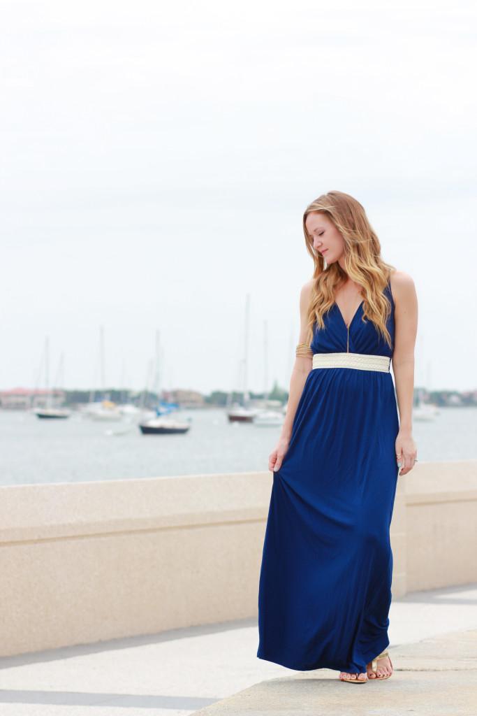 Golden Tote Navy Maxi Dress