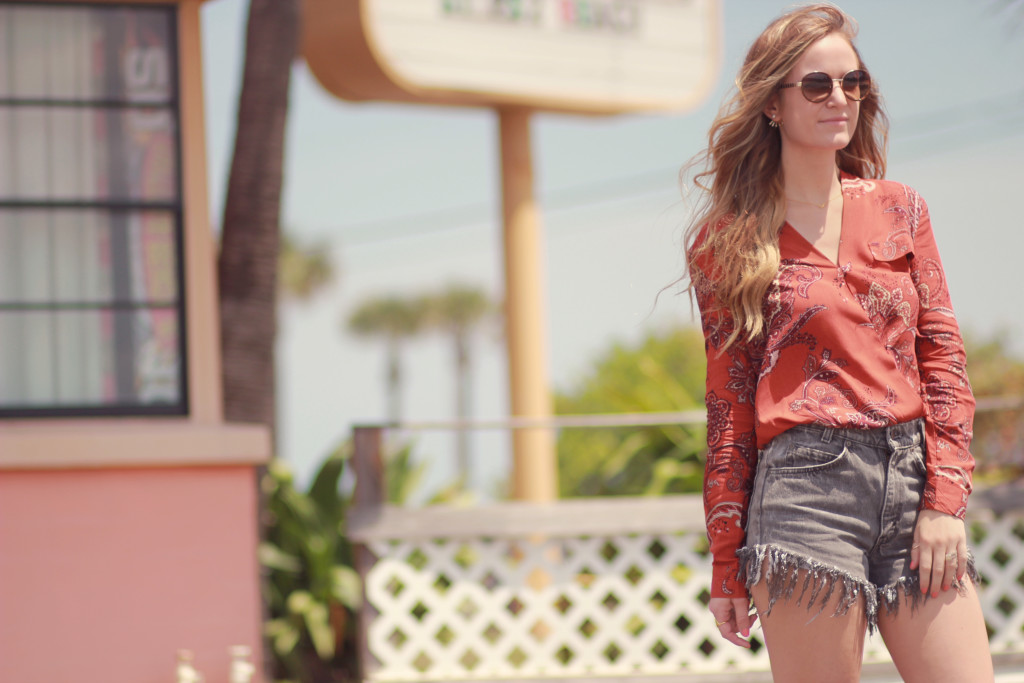 paisley blouse and high waisted shorts