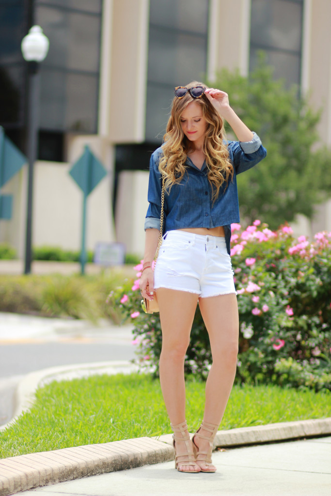 chambray and white outfit