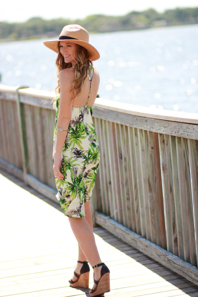 Vacation outfit, palm tree print dress