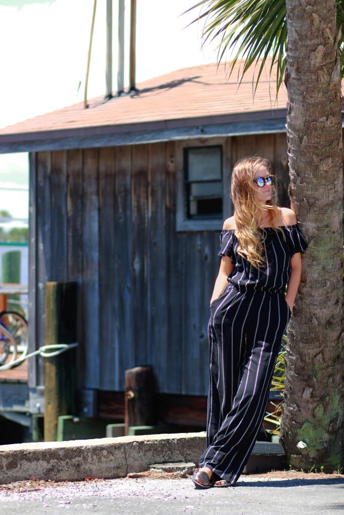 Forever 21 Striped jumpsuit, Riudavets sandals, Illesteva Sunglasses