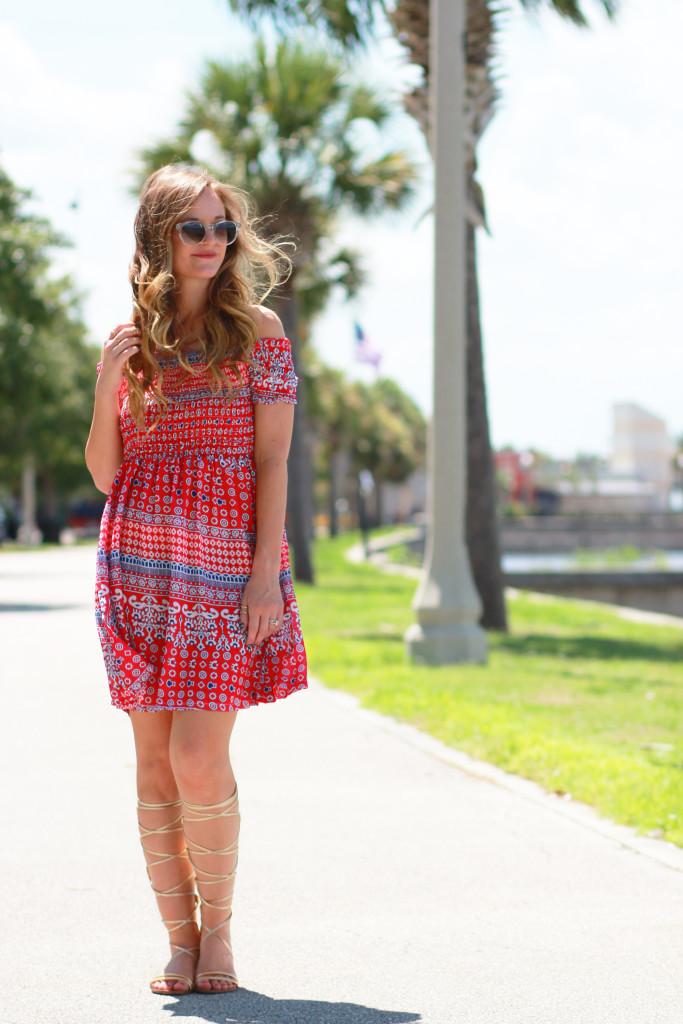 Choies red and blue dress, Prism Paris Sunglasses Gold Gladiator sandals