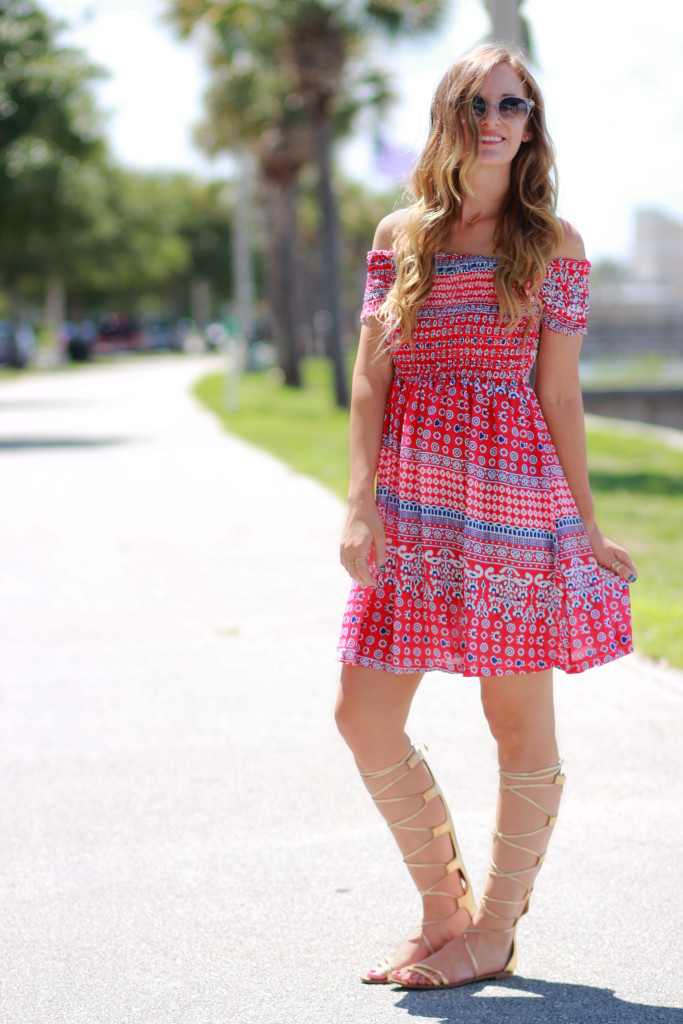 Choies red and blue dress, Prism Paris Sunglasses Gold Gladiator sandals