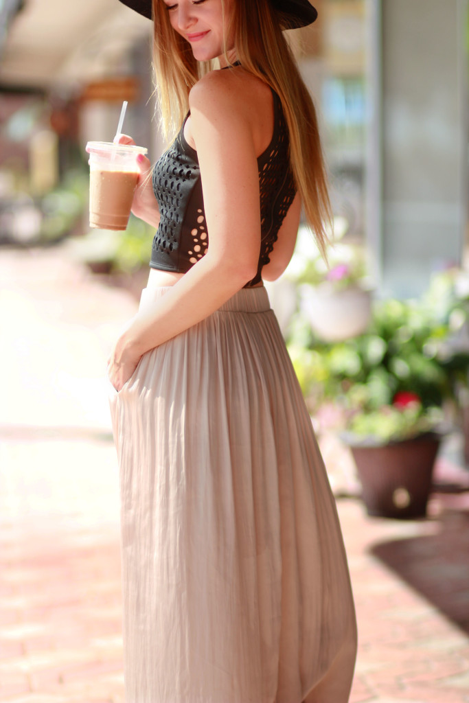 abercrombie crop top, gold maxi dress, and free people hat