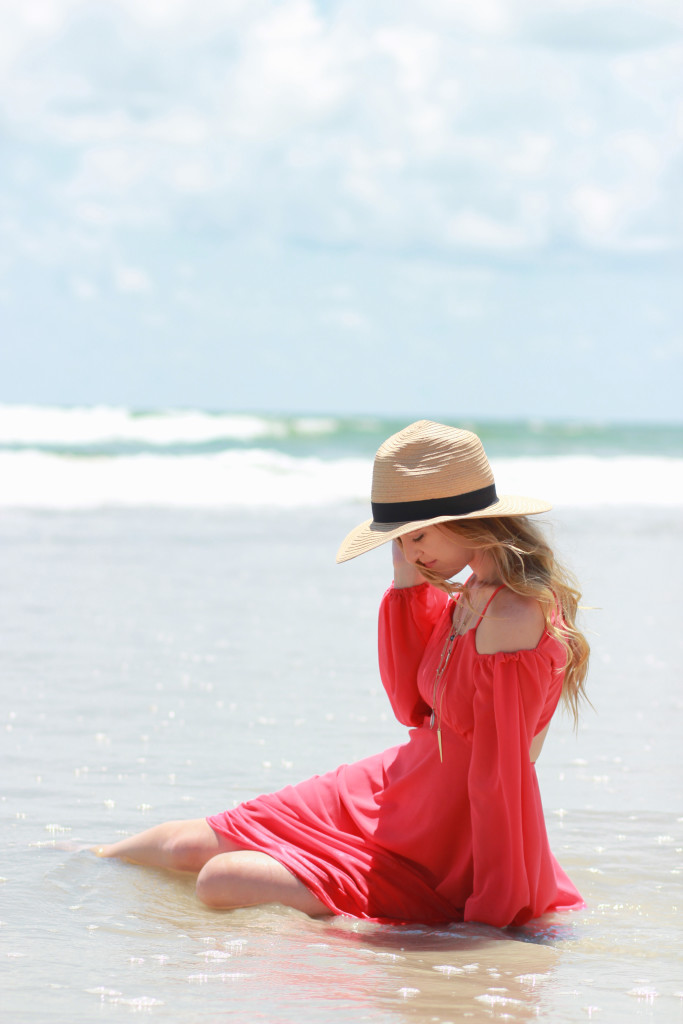 coral maxi dress, beach outfit, vacation outfit