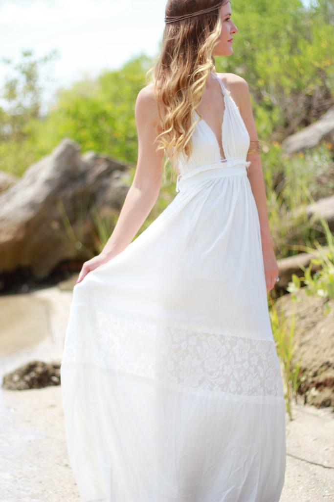 Sheinside boho white maxi dress