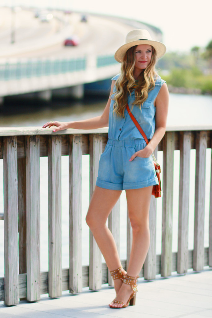 Chambray Romper and panama hat