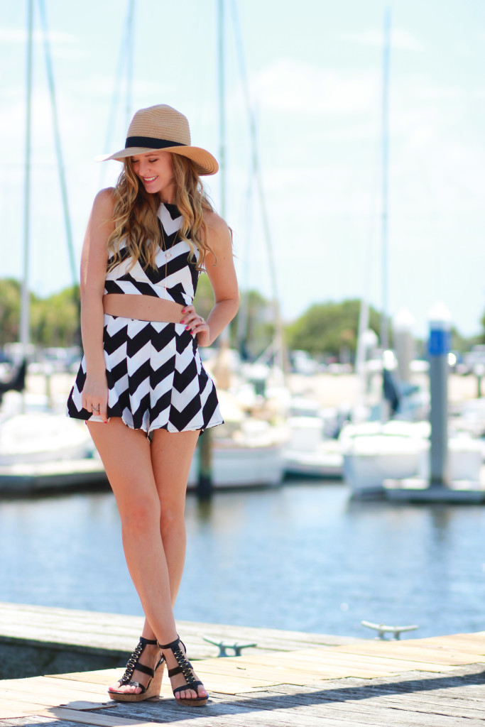 Oasap chevron matching set and Dolce Vita wedges