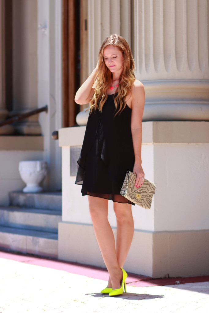 little black dress and neon accessories