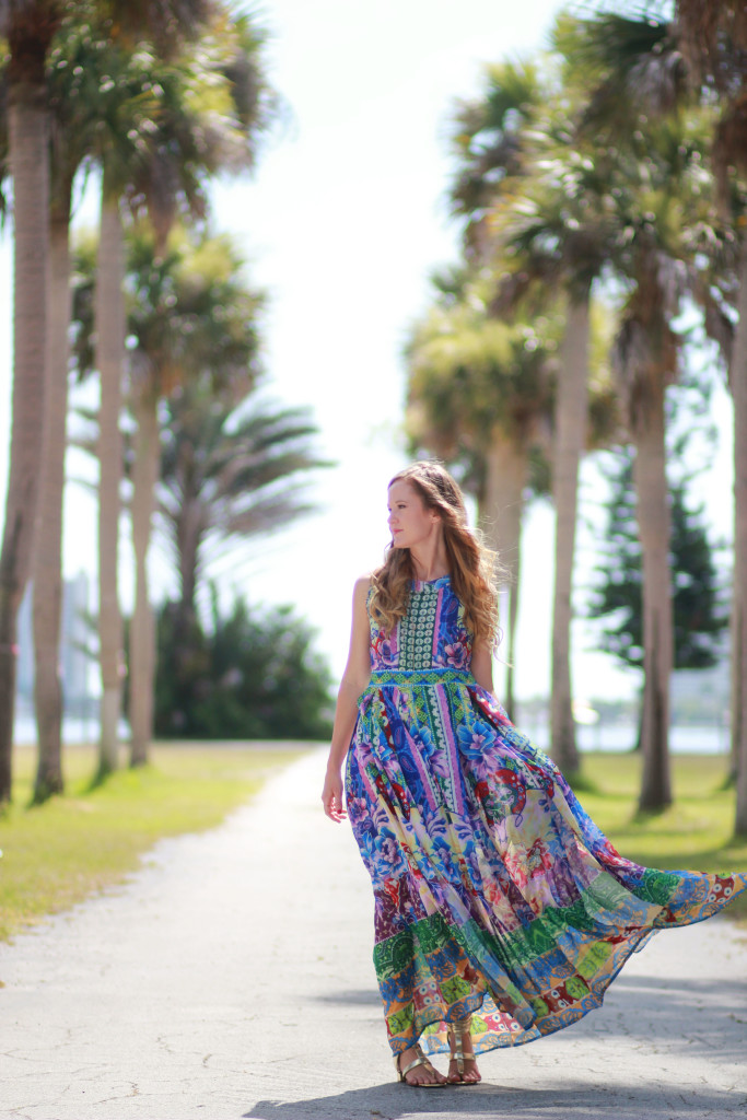 choices tropical maxi dress and gold sandals