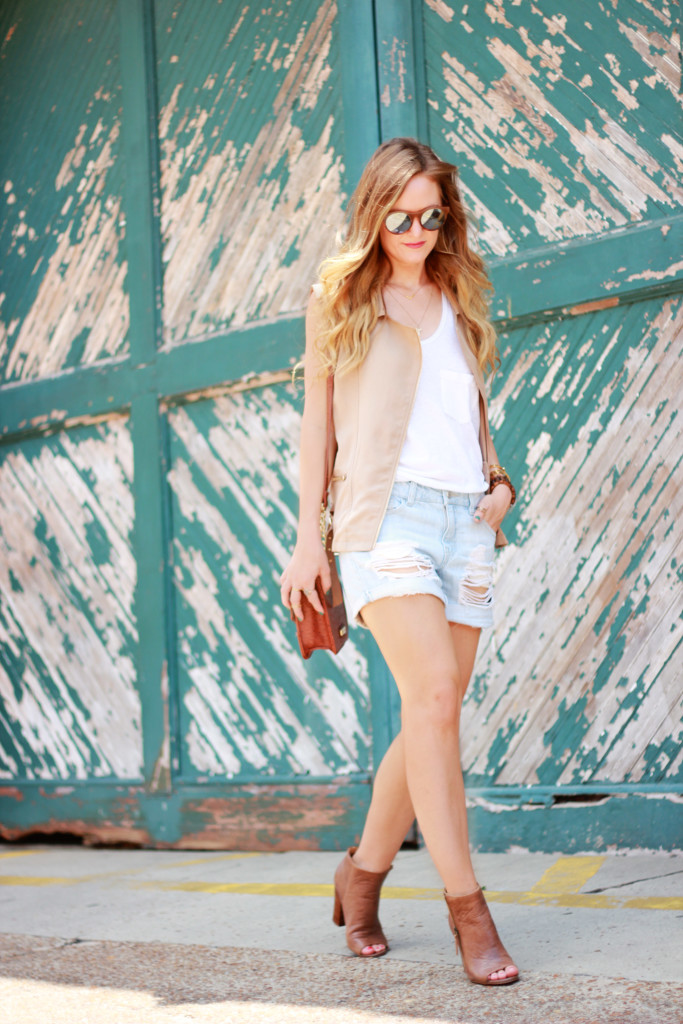 gianni bini moto vest, charlotte russe boyfriend shorts, Elizabeth and James sunglasses
