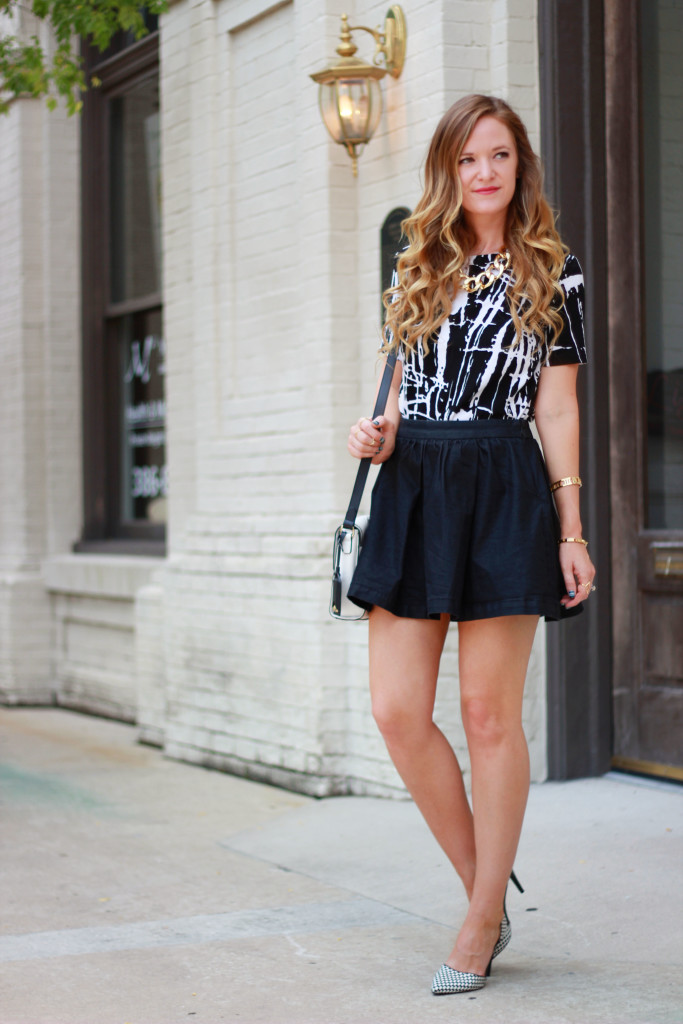 forever 21 black and white top and bcbgeneration chambray skirt