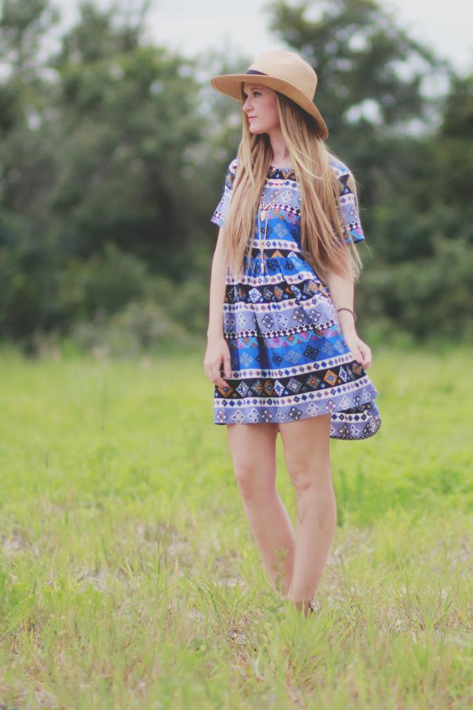 boohoo aztec dress and sole society fedora