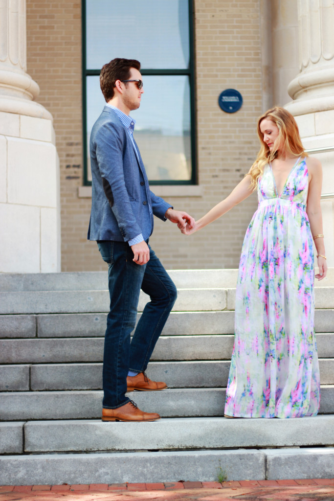 water color maxi dress, h&m suit jacket and jeans