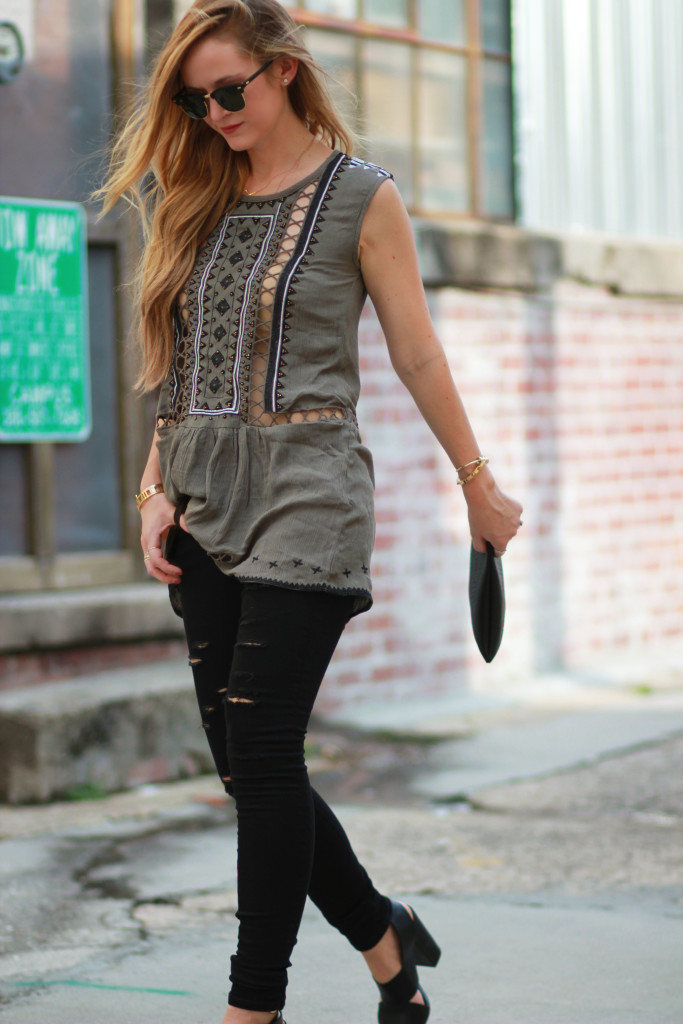 dstld dressed jeans, choies beaded top, ray ban clubmaster sunglasses