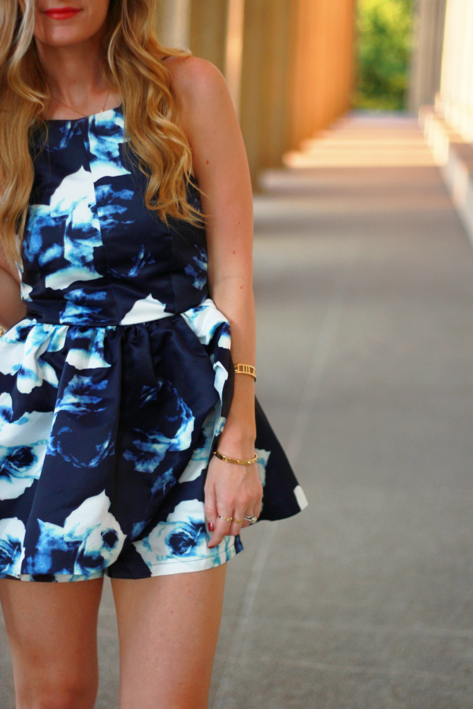 sophie and trey peplum floral romper, date night outfit