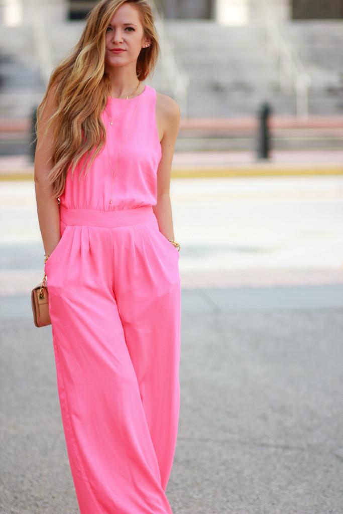 Gianni Bini neon pink jumpsuit, badgley mischka crossbody