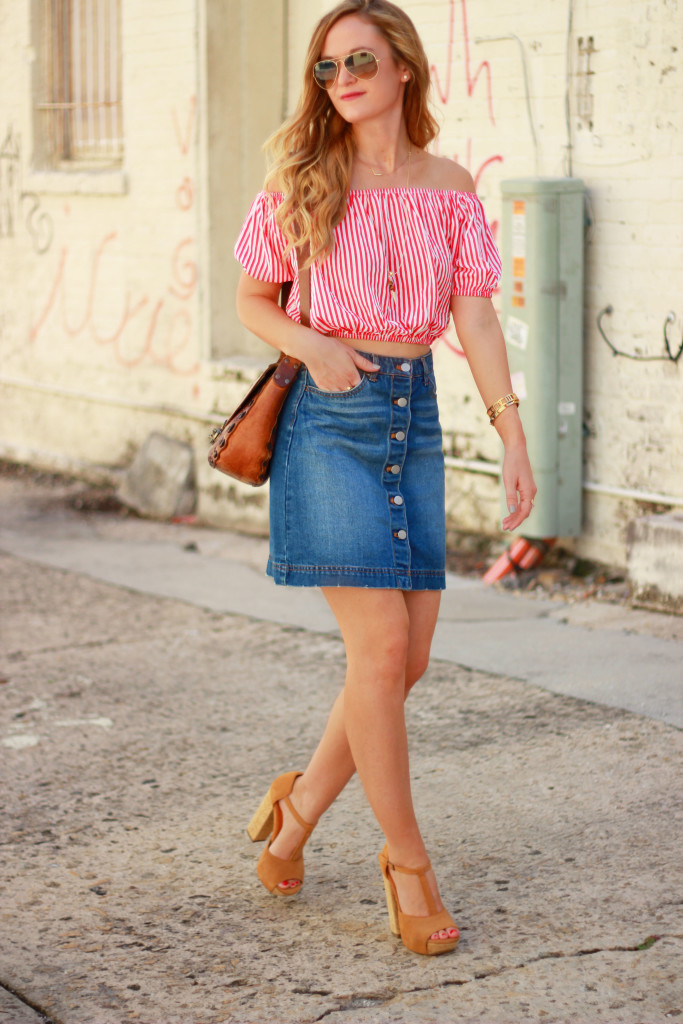 h&m denim skirt, choies striped crop top