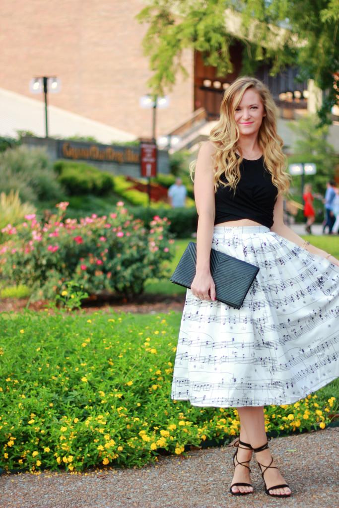 Chicwish music note midi skirt and presidnt steve madden heels