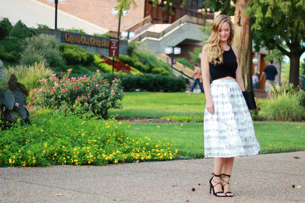 Chicwish music note midi skirt and presidnt steve madden heels
