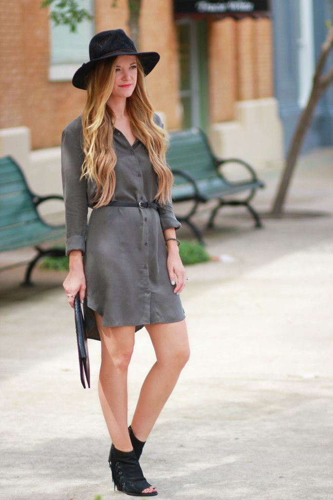 Olive Wayf shirt dress and dolce vita fringe booties
