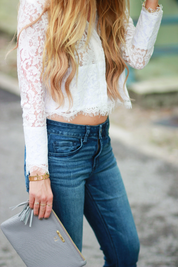 GiGi New York all in one clutch, Shein lace crop top, American Eagle flared jeans