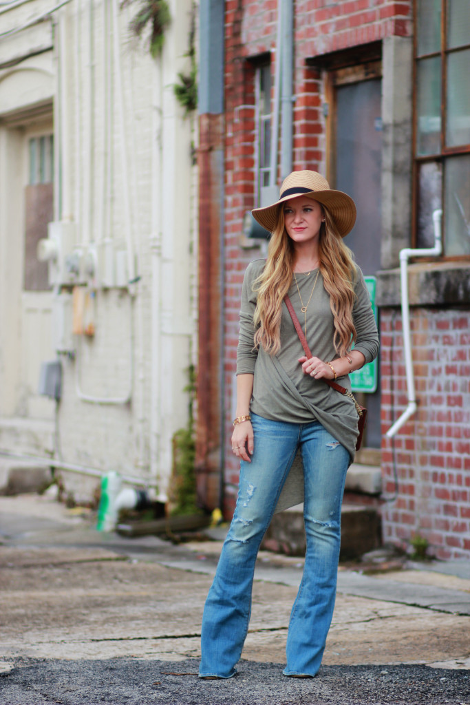 AE Flared Jeans and Asymmetrical Top