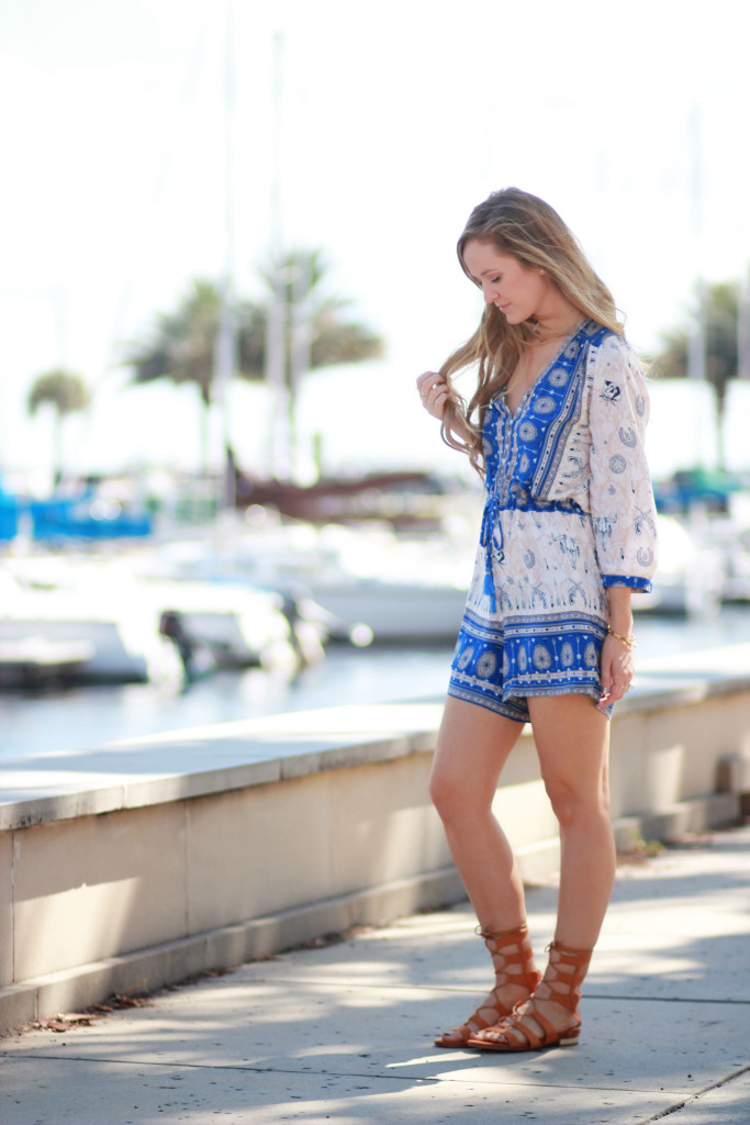 boho romper and choies gladiator sandals
