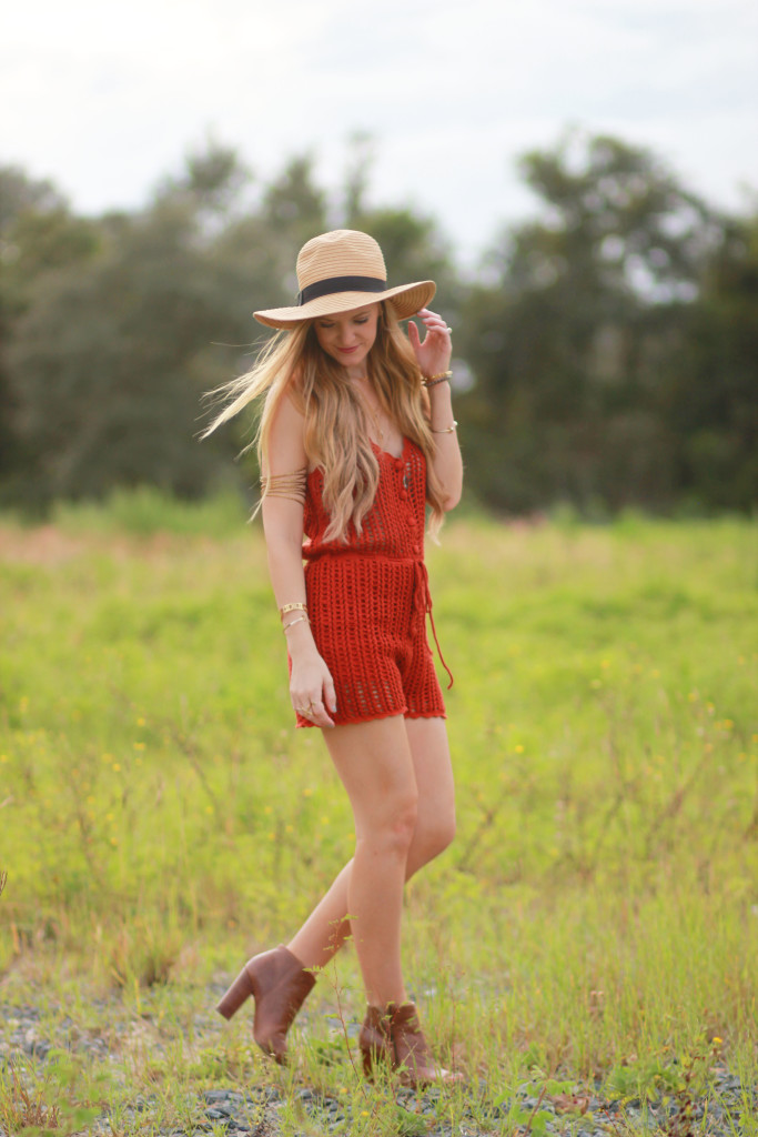 forever 21 crochet romper and brown peep toe booties